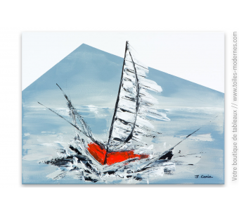 Tableau gris abstrait Voilier rouge