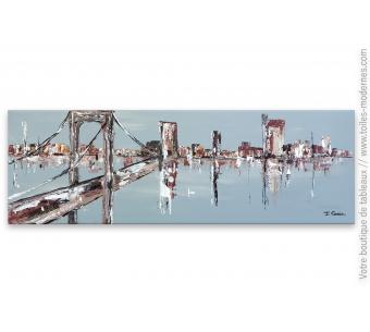 Tableau gris et marron moderne : Le pont de Brooklyn
