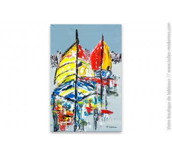 Déco murale colorée avec une peinture sur toile : Reflets