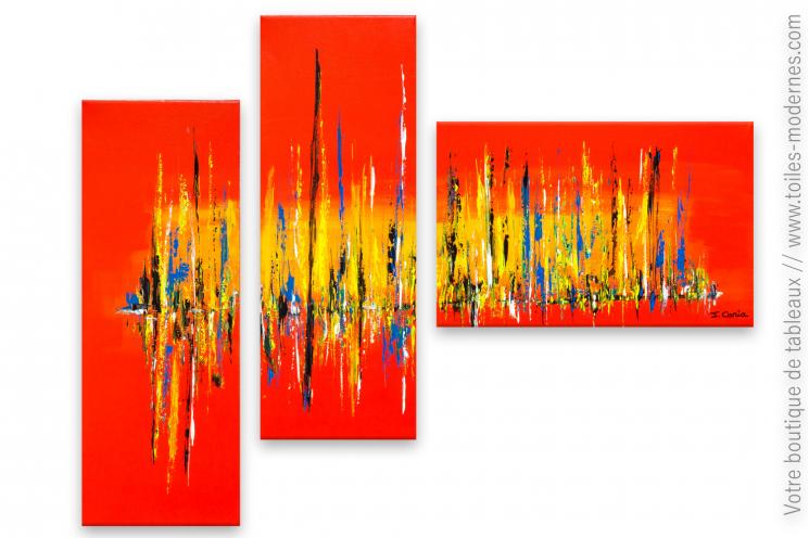 Objet décoratif rouge : tableau triptyque Décor éclatant