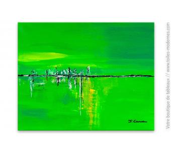 Objet déco vert anis tableau abstrait : Oxygène