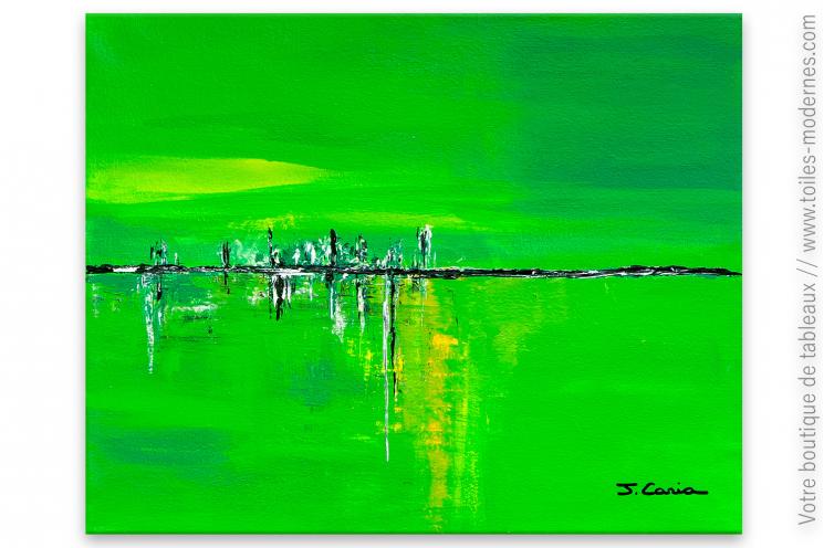 Tableau vert anis abstrait : Oxygène