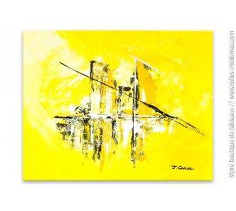 Tableau jaune abstrait : Soleil de plomb