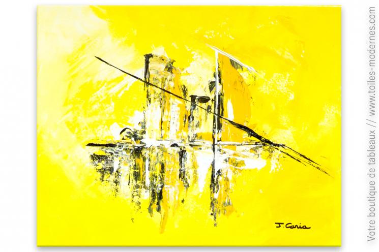 Déco jaune avec un tableau moderne : Soleil de plomb