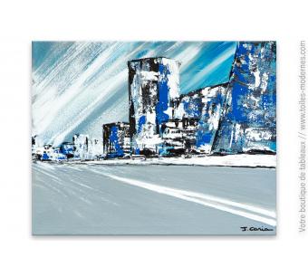 Tableau gris moderne : La ville bleue