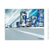 Objet déco  gris et bleu avec un tableau moderne : La ville bleue