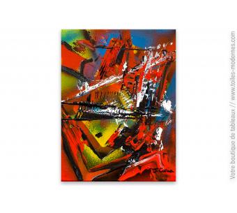 Toile artistique moderne vert gris format panoramique - Tableaux modernes colores ...
