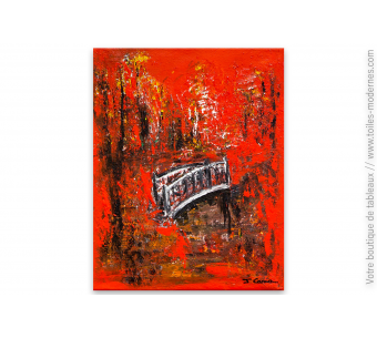 Tableau rouge et noir contemporain : Le pont des soupirs