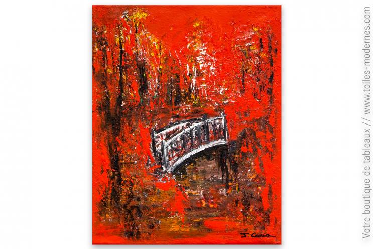 tableau rouge et noir contemporain le pont des soupir. Black Bedroom Furniture Sets. Home Design Ideas