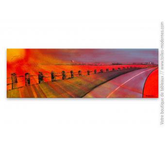 Tableau rouge design : Voyage sans fin