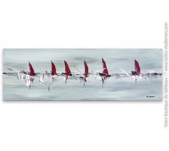 Déco moderne grise avec une grande peinture sur toile d'art abstrait : La belle aventure