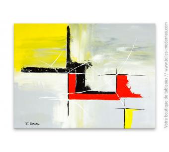 Tableau abstrait gris et rouge : Utopie