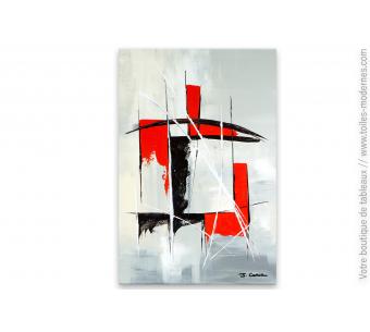 Déco minimaliste design rouge et noir tableau abstrait : Combinaison