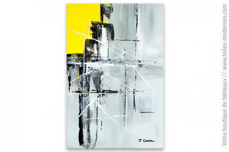 Déco design moderne avec un tableau jaune et gris : Supposition