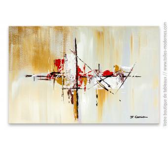 Tableau design avec un tableau marron d'art abstrait : Village en automne
