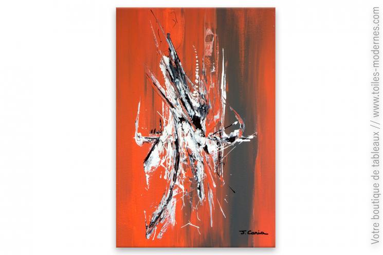 déco murale rouge brique avec un tableau moderne : Faune urbaine