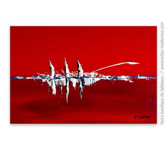 Déco design avec une tableau rouge art minimaliste : Navires dans le port