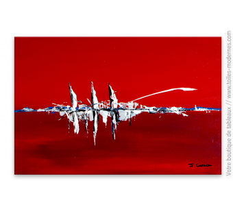 Toile rouge contemporain : Navires dans le port