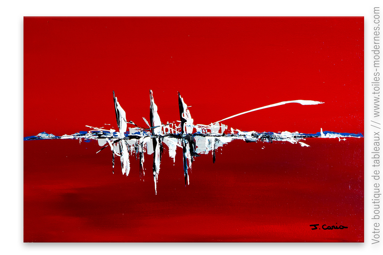 toile rouge contemporain navires dans le port. Black Bedroom Furniture Sets. Home Design Ideas