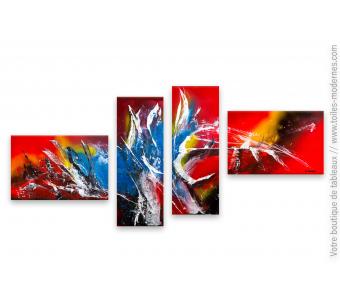 Décoration colorée design avec un grand quadriptyque : Envoûtement