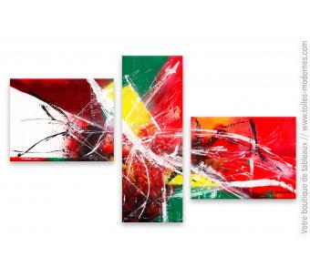 Triptyque coloré abstrait : Atmosphère enfiévrée
