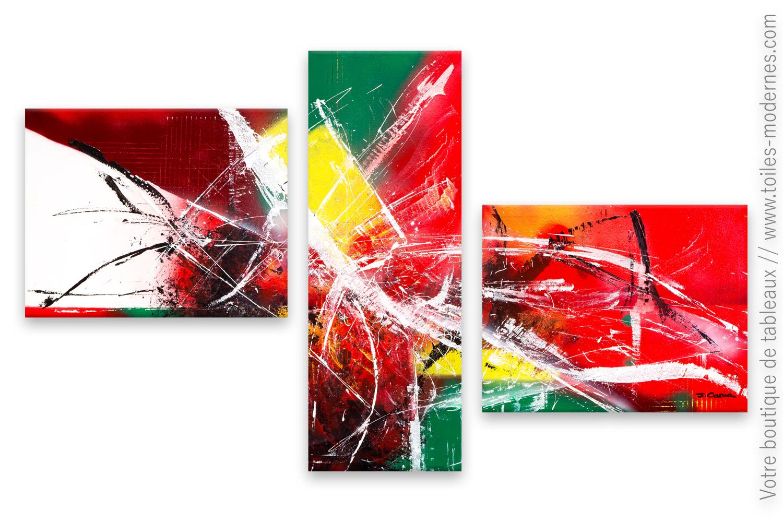 Triptyque Color Abstrait Atmosph Re Enfi Vr E