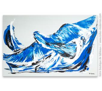Déco murale bleue avec un grand tableau design : L'oiseau bleu