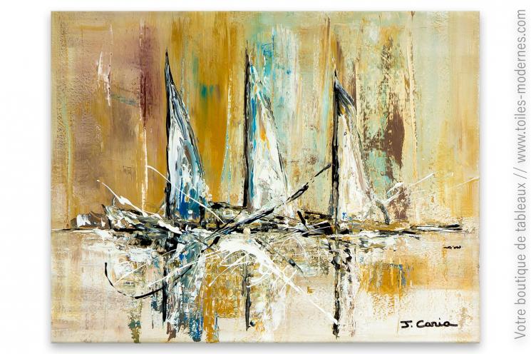 Décoration marron avec un tableau moderne : Dans le vent de Bretagne
