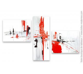 Tableau triptyque rouge et blanc : Destination mystérieuse