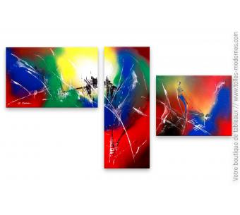 Tableau coloré triptyque : Rayonnement cosmique
