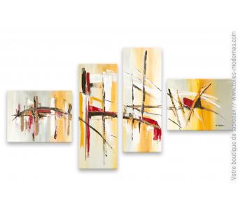 Tableau quadriptyque gris abstrait : Plaisirs de la vie