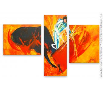 Tableau orange moderne : Corrida à Séville