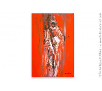Peinture rouge moderne nu africain