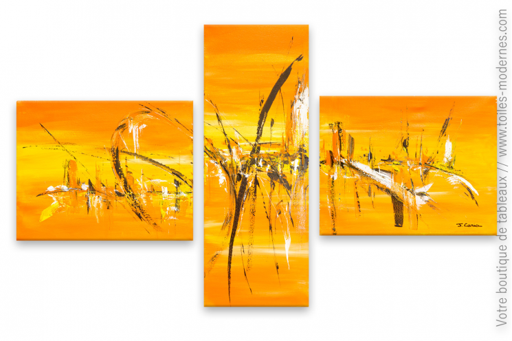 Tableau orange en plusieurs parties conception moderne
