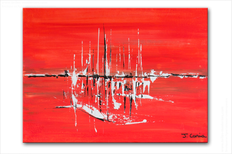 Tableau Moderne Rouge Rectangle Composition Originale