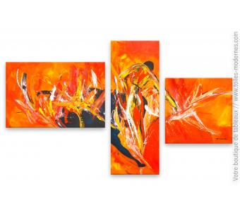 Peinture moderne rouge et orange : La corrida