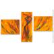 Tableau thème l'Afrique triptyque orange d'art  moderne