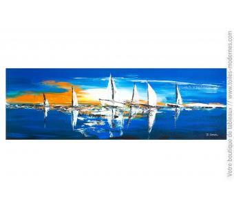 Tableau marine bleu : Le soir sur la mer
