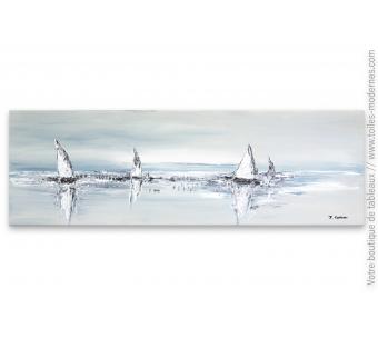 Peinture marine abstraite : Larges voiles au vent