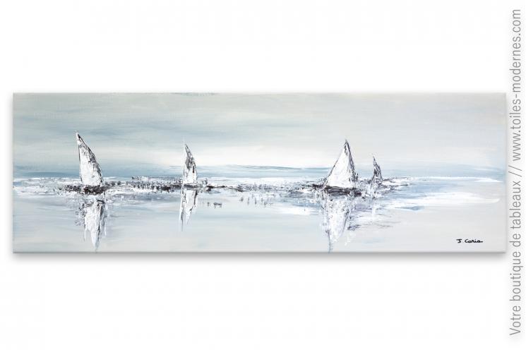 Grand tableau design gris pour déco minimaliste : Larges voiles au vent