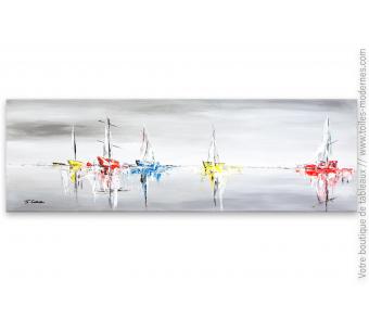 Tableau marine contemporain : Bercés par l'écume vibrante