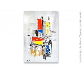 Tableau gris décoratif art contemporain  : Construction étourdissante
