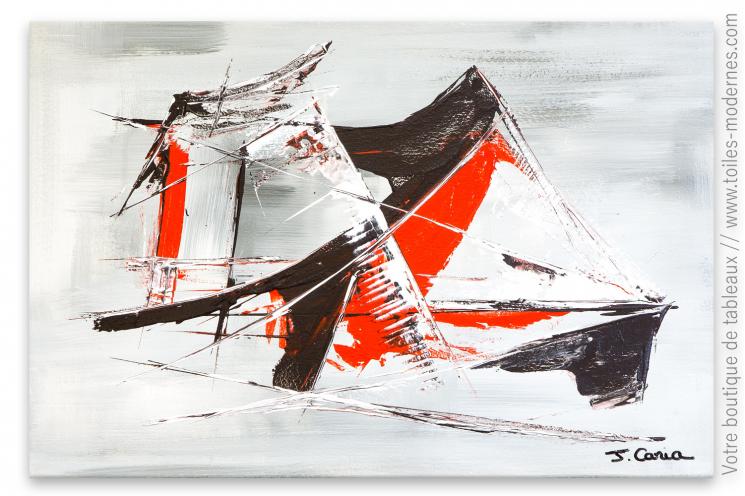 Tableau gris et rouge abstrait : Sensations fortes sur l'eau
