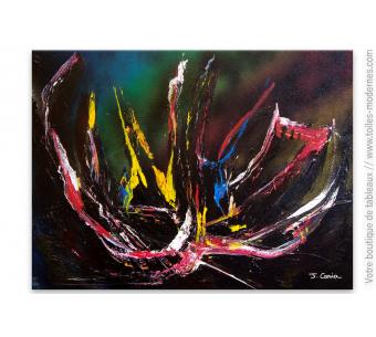 Tableau design noir, art abstrait : Volcano