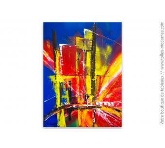 Déco bleue avec un tableau décoratif : Cité en feu
