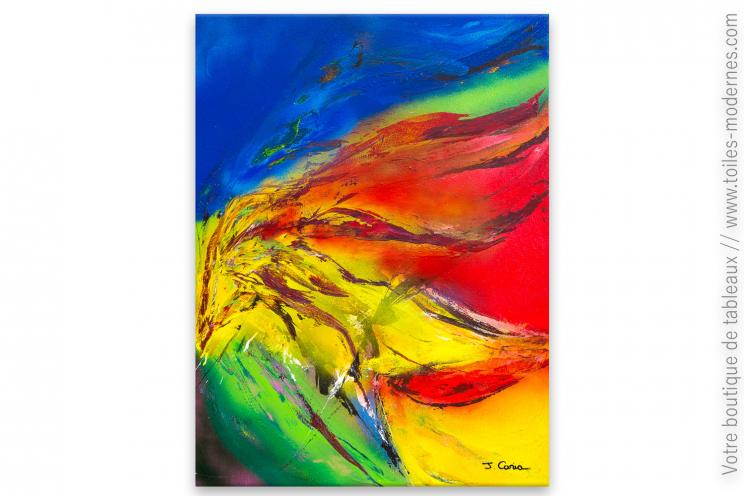 Tableau coloré - vente tableau coloré fait maison : Tempête de feu