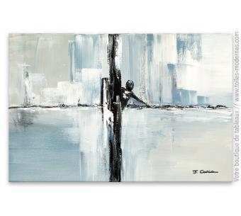 Tableau gris contemporain : Le naufragé