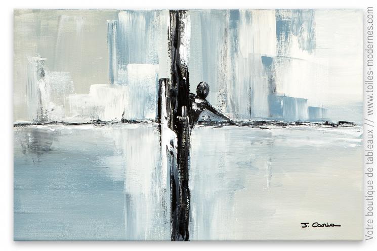 Déco minimaliste, épurée avec un tableau gris moderne : Le naufragé