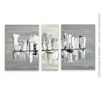 Décoration murale scandinave avec un grand triptyque gris : Un ciel gris