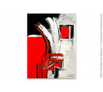 Déco en rouge et noir avec un tableau contemporain : Devant la fenêtre